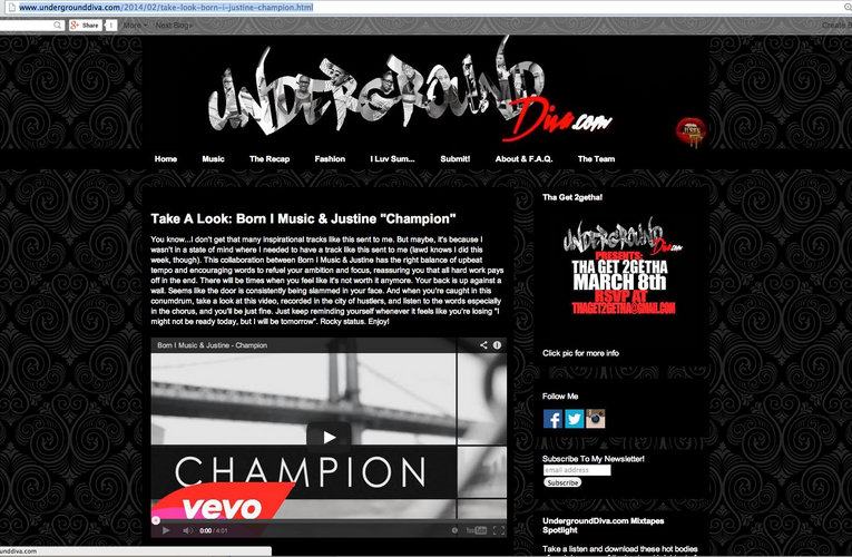 """Champion"" Positively Reviewed on Underground Diva"