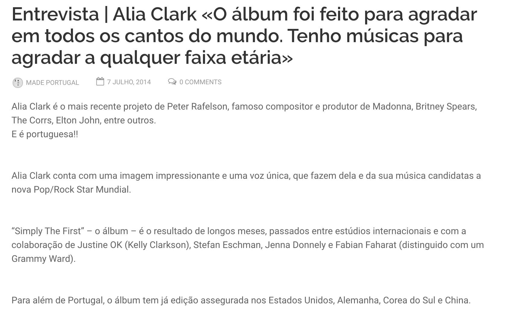 """Justine Ok mentioned in Alia Clark's Interview with """"Made In Portugal Musica"""""""