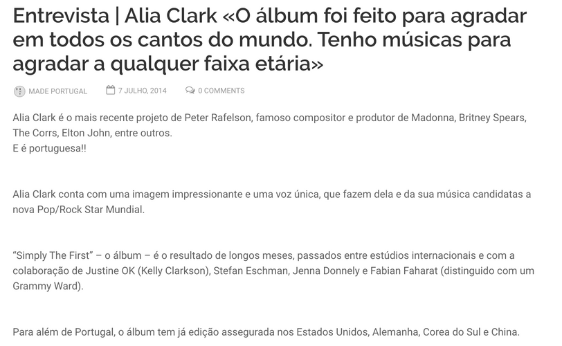 "Justine Ok mentioned in Alia Clark's Interview with ""Made In Portugal Musica"""