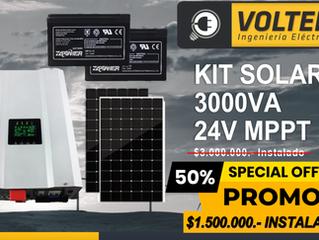 INVERSORES Y PANELES SOLARES  (KIT SOLAR 3000VA 24V MPPT)