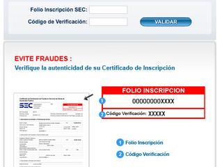 Validar Certificado Inscripción TE1 SEC - ¡EVITE FRAUDES!