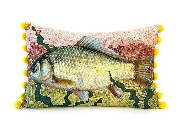 Multicoloured Fish Cushion - Yellow