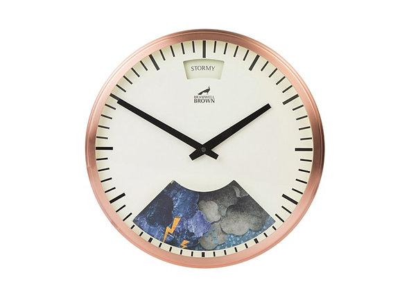 Bramwell Brown Weather Clock Copper