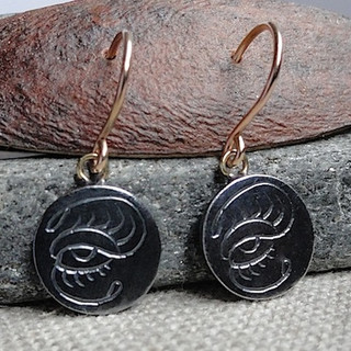 Oxidized Silver Eye Earrings