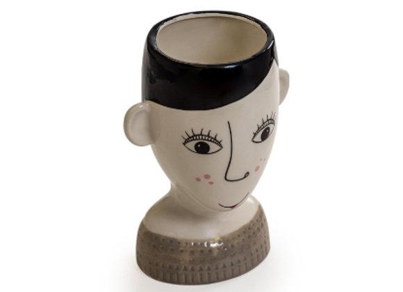 Ceramic Doodle Face Vase: Freckless Woman