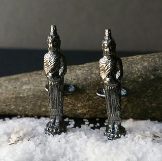 Silver Alms Collecting Buddha Cufflinks