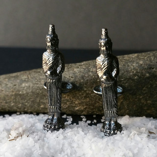 Silver Alms Collecting Buddha Cufflinks