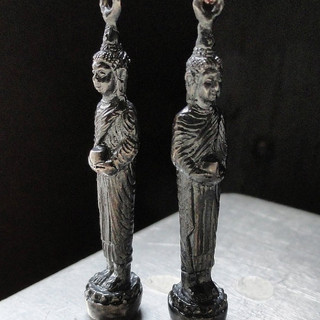 Buddha Dangle Earring in oxidized sterling with 14kt ear wires
