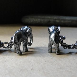 Oxidized Silver Elephant Cufflinks