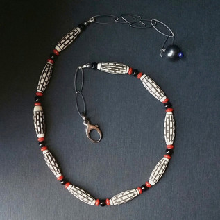 Carved Bone Onyx and Coral