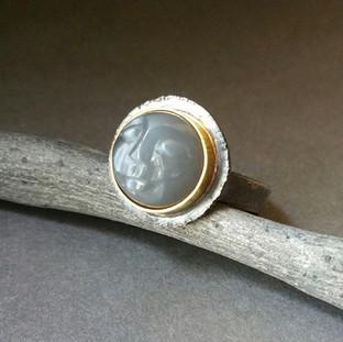 Grey Moon Face Ring