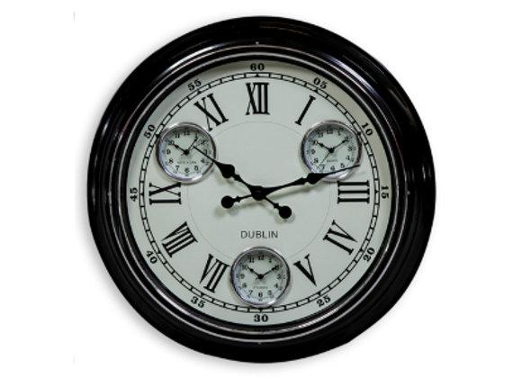 Multi Dial Metal Clock - Black
