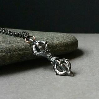 Silver Vajra Necklace Pendant