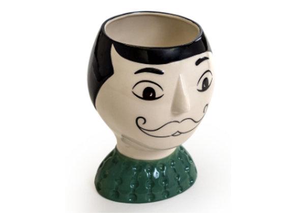 Ceramic Doodle Face Vase: Man with Moustache