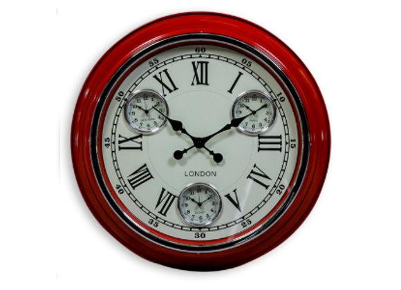 Multi Dial Metal Clock - Red