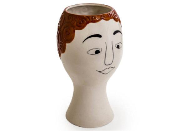Ceramic Doodle Face Vase: Red Head