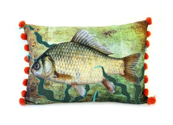 Multicoloured Fish Cushion - Orange