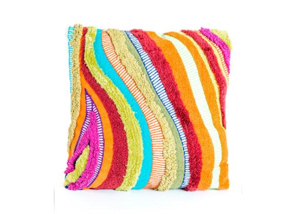 Multicoloured Patchwork Cushion Orange