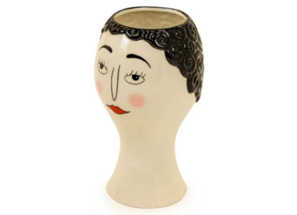 Ceramic Doodle Face Vase: Blushed Woman