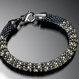 Crochet Bracelet with Oxidized Silver Clasp