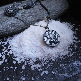 Oxidized Silver Shri Hanuman Necklace Pendant
