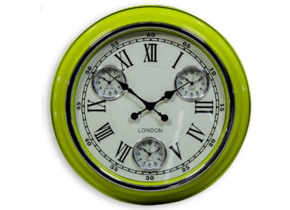 Multi Dial Metal Clock - Green
