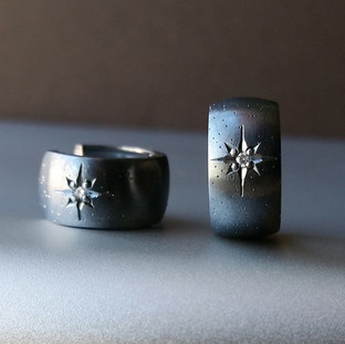 Oxidized Silver Huggie Hoop Earrings
