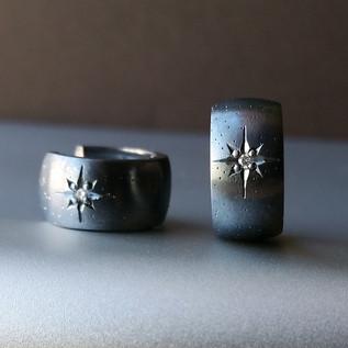 Oxidized Silver Huggie Hoop Earrings