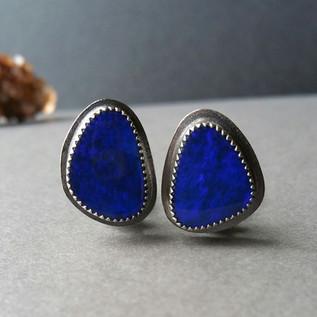 Deep Blue Opal Earrings