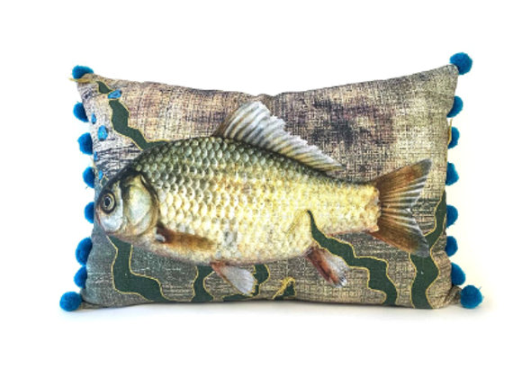 Multicoloured Fish Cushion - Blue