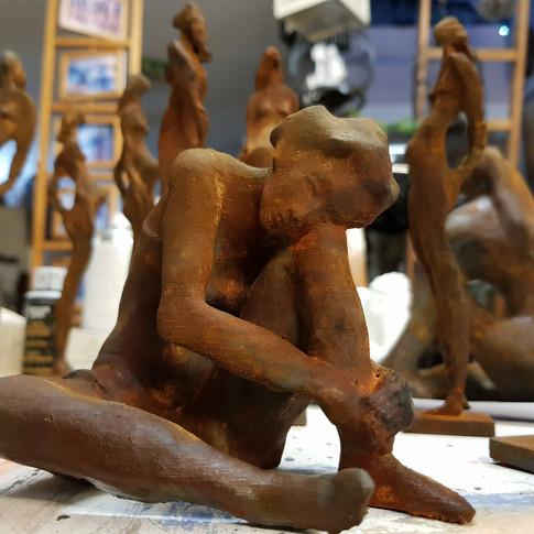 Femme assise, effet oxidé, Egon Schiele