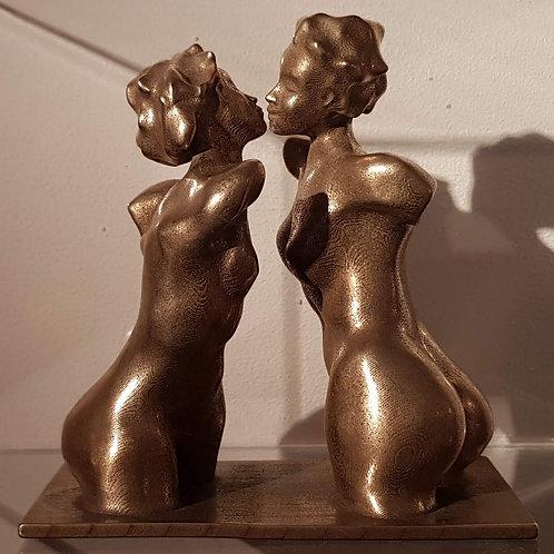 Bustes féminins, 2019, acier/bronze, Nicolas Ruffieux