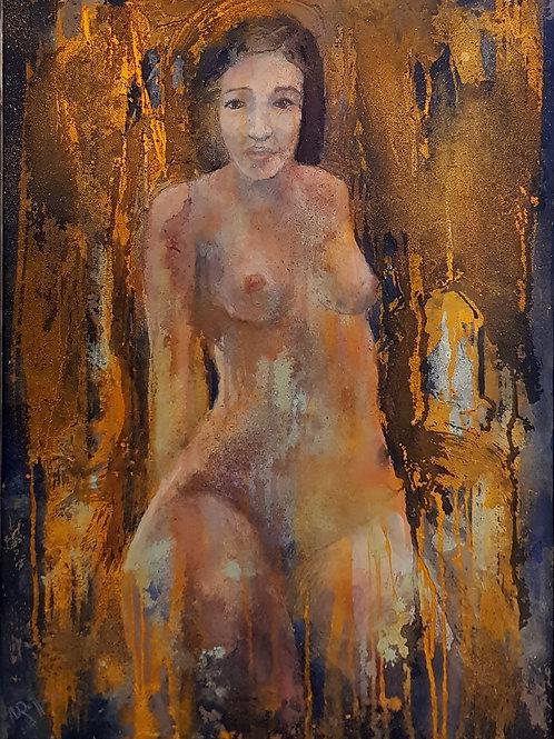 Nu à genoux 2, 2015, 50x70cm, Nicolas Ruffieux