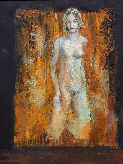 Femme à  genoux, 2015, 60x80cm, Nicolas Ruffieux