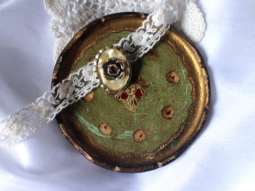 Western Germany Vintage Mother of Pearl Rose Scarf Clip