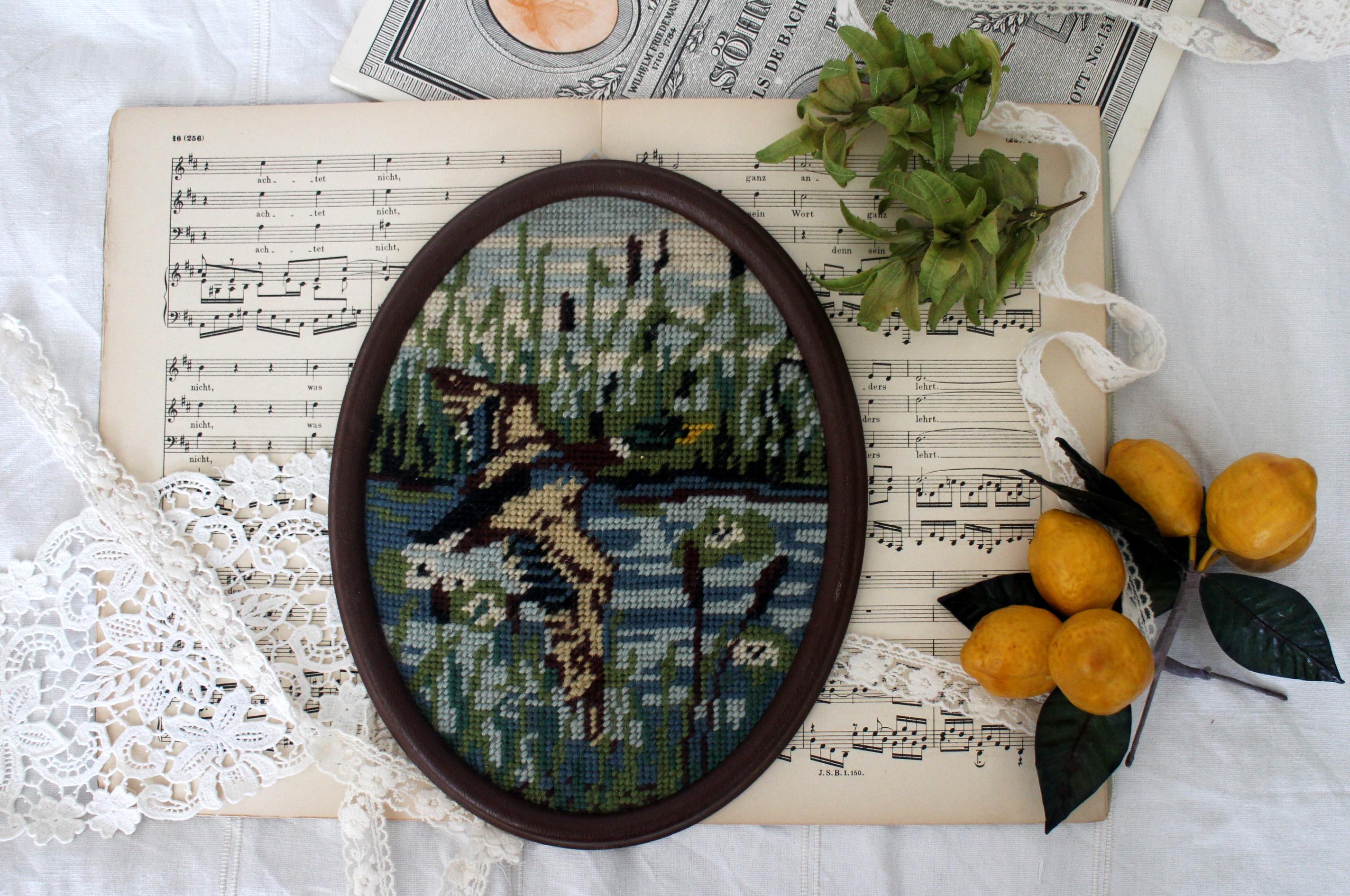 Vintage Handmade Tapestry Flying Mallard Duck Muraled