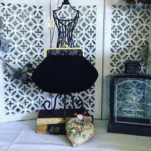 Black Pleated Tapestry Trim Vintage Bag