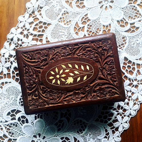 Vintage Wooden Box of Flowers and Leaves