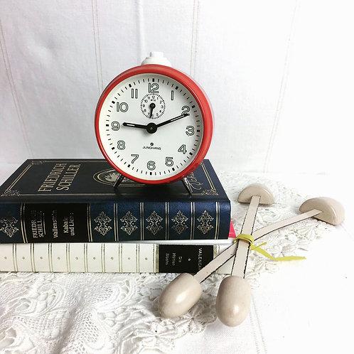1960s Vintage German JUNGHANS Red Mechanical Alarm Clock
