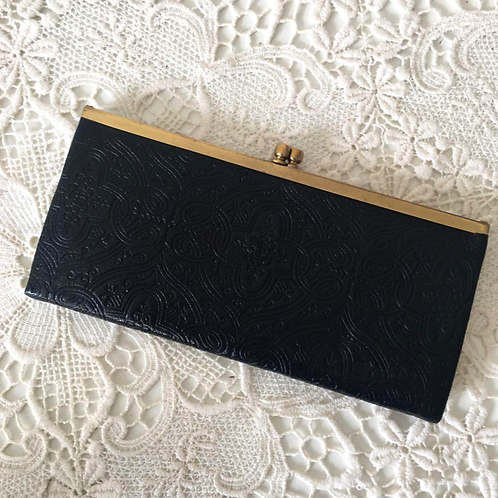 Vintage 60s Black Embossed Leather Kiss-lock Purse