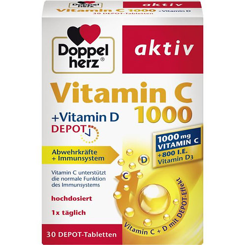 Doppelherz Vitamin C 1000 + Vitamin D 維他命C 1000+維他命 D營養片