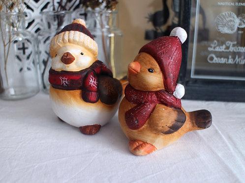 Pair of Handpainted Ceramic Bird Figurines