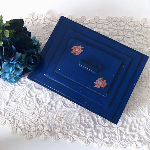 Vintage Hand Painted Wooden Sewing box / Trinket Box