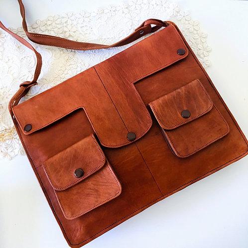 Vintage Leather Messenger Bag Documents Case