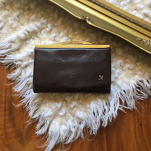 Vintage Assima Dark Brown Leather Kisslock Wallet