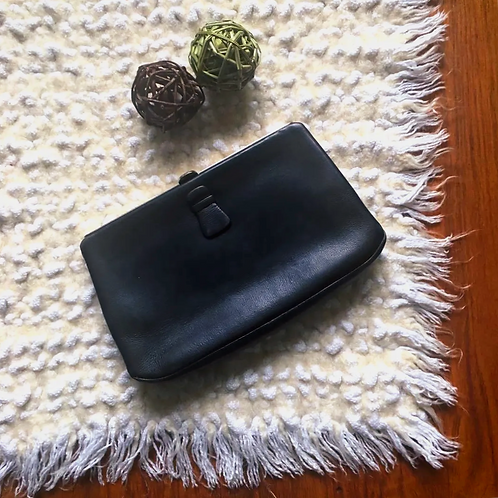 Vintage Dark Blue Leather Pouch