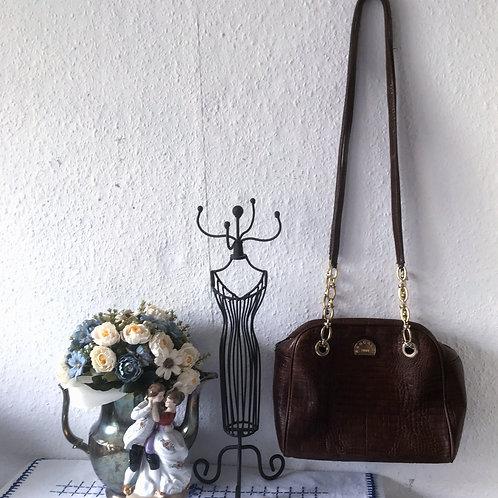 Vintage Italian PANCALDI 1888 Mock Croc  Leather Handbag