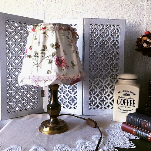 Brass Table Lamp with Rose Fabric Lampshade