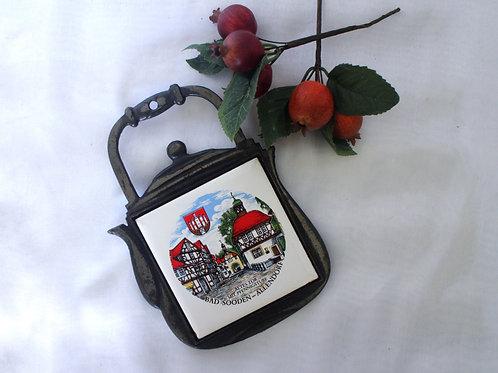 Vintage German Cast Iron Teapot Trivet with Ceramic Tile