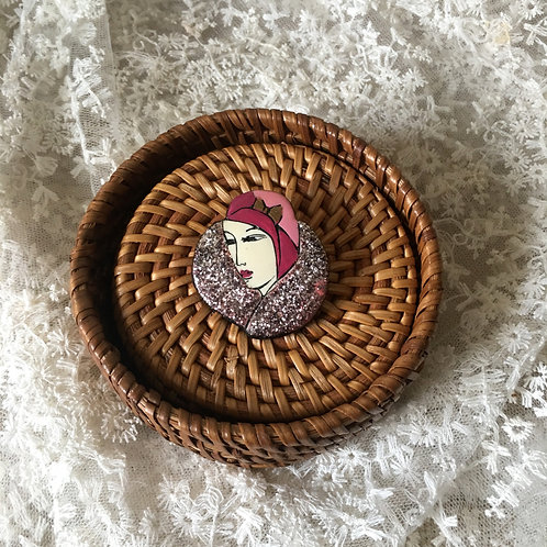 Art Deco Vintage style Acrylic French Lady Brooch